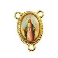 Miraculous Virgin Mary Catholic center gold metal rosary beads finding junction