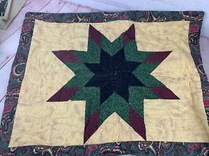 Vtg Factory Made Blue, Green & Beige Virginia Star Pattern Quilted Pillow Sham