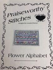Praiseworthy Stitches Flower Alphabet  Cross Stitch Pattern
