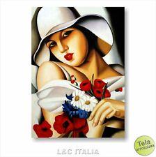 Tamara de Lempicka Piena estate STAMPA TELA 50x70 QUADRO ARTE DONNA FIORI