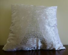 Paris and Eiffel Tower white cushion cover with diamantes 45cm