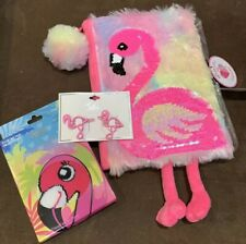 """JUSTICE """"LET'S FLAMINGLE"""" DIARY/HAIR CLIPS/SOCKS ACCESSORY PINK FLAMINGO WOW!!"""