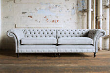 LARGE HANDMADE SPLIT 4 SEATER SILVER GREY VELVET CHESTERFIELD SOFA COUCH,