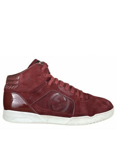 GUCCI (295322) Varsity Red Suede Mid Top Trainers UK 4.5 G | EUR 37.5 | US 5.5