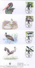 WORLD WILDLIFE FUND 2005 BELARUS STORK BIRD SET OF FOUR FIRST DAY COVERS