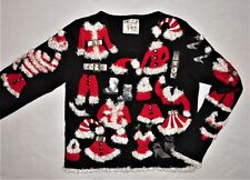 Michael Simon Vintage Santa Costumes Ugly Christmas Sweater Womens Cardigan S M