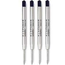 4 x Parker Quink Flow Ball Pen BP Refill Black Ink - Medium Nib - New Sealed
