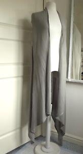WYNNELAYERS Fine Knit Sleeveless Cardigan Open Front Lagenlook Silver Grey 3XL