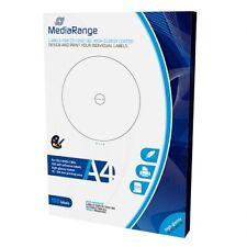 100 ETICHETTE Labels per CD DVD BD, 15-118mm, high-glossy , STAMPABILI  MRINK132