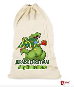 PERSONALISED DINOSAUR CHRISTMAS STOCKING SANTA SACK -Jurassic Christmas design