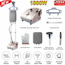 2-in-1 Clothes Fabric Garment Steamer Full-Size Stand 9 Steam Levels Iron 1800W