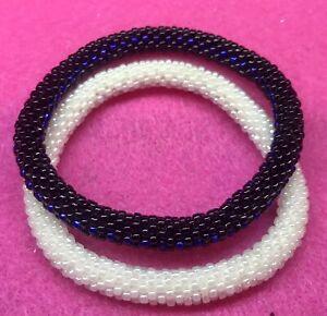 "Sashka Co Set of(2)  6""-8"" One Pearl & One Blueish Black Glass Beaded BRACELETS"