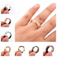 Fashion Resin Ring Wooden Flower Plants Novelty Ring Handmade Ring Wood Gift