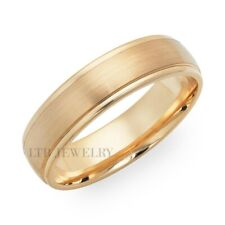 18K YELLOW GOLD MENS WEDDING BANDS RINGS SATIN FINISH 6MM