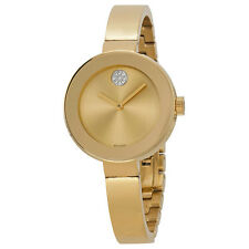 New Movado Bold Gold Tone Stainless Steel Bangle Ladies Watch 3600201