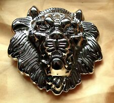 LARGE LION HEAD BUCKLE IN STUNNING SILVER JUST FITS ON YOUR BELT