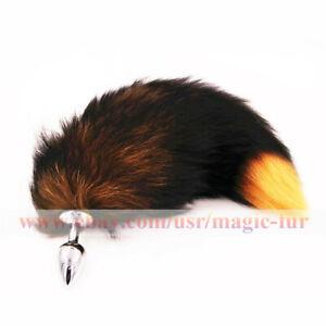 40cm Real Fox Fur tail w 2.8x7cm Plug Sexy funny cosplay tool Keychain Bag Charm