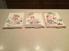 Vintage Embroidered Kitchen Dish Tea Towels Three Fiesta Mexican Spainish Theme