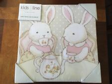 KIDSLINE SWEET LULLABY BUNNY TEAPARTY CANVAS WALL ART SET OF 2 -  NEW