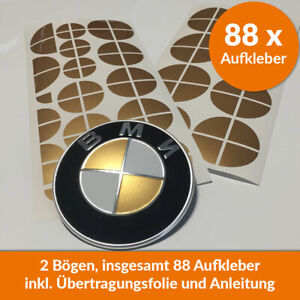 88 x BMW Emblem Aufkleber gold glänzend - Felgen Logo Tuning 1 2 3 4 5 6 M X