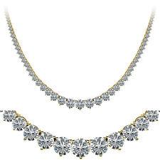 18.10 ct Round Diamond Graduated Tennis Necklace, 0.90 ct center 14k Yellow Gold