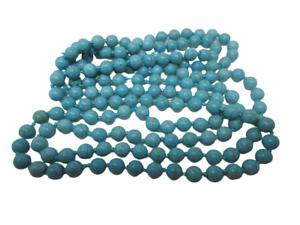 Magnesite Dyed Turquoise Blue NECKLACE Beaded Knotted 60 Inches Long NEW