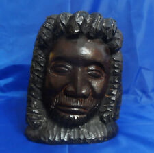 "VTG Antique 8-1/2"" African Ebony Wood Sculpture Statue Hand Carved Head 9 lbs"