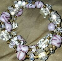 Memory Wire Wrap Bracelet With Light Lilac & White Color Glass Beads  Handmade