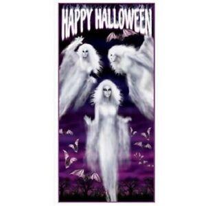 HAPPY HALLOWEEN ETHEREAL GHOST DOOR COVER HORROR BATS POSTER PARTY DECORATION