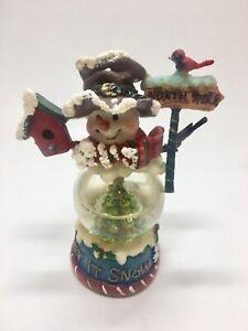 Vintage Roman Inc Let it Snow Snowman Waterglobe Snow Globe Mini Figurine