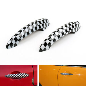 Checkered Pattern Design Door Handle Cover For Mini Cooper R50 R52 R53 R55/56 B2