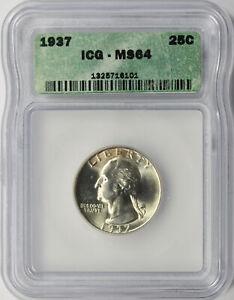 1937 25c Washington Quarter ICG MS64
