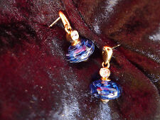 Beautiful Earrings/Stud __ Blue with Rhinestone __ Gold Plated___Pierre Lang ___