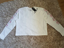 New Women's HOLLISTER Rose Embroidered Graphic Tee Size L white