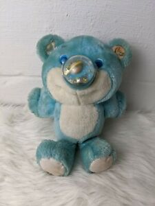 Blue Playskool Nosy Bear Plush Toy Vintage 1987 80s Planet Saturn Stars Works