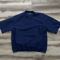 Footjoy FJ Mens XL Navy Pullover Golf Jacket V Neck Windbreaker S/S Pockets