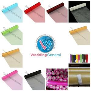 25m X 29cm Organza Roll Fabric Sheer Chair Sash Bows Wedding Table Runner Party