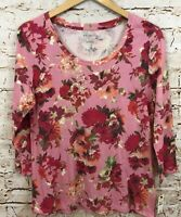 Talbots womens large shirt top pink floral 3/4 sleeves new scoop neck tee G6