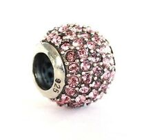NEW 925 Sterling Silver Crystal Pave Lights European Bracelet Charm Bead Pink