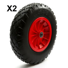 2 x PU 16'' 4.80-8 4.00-8 Tyre 8'' Wheel Puncture Proof & Solid Wheelbarrow Cart
