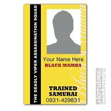 PERSONALISED Printed Novelty ID- KILL BILL Black Mamba Membership Squad Card TV