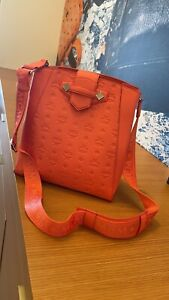 MCM Essential hot coral Drawstring Bag in Monogram Leather $825+ Tax