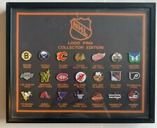 Vintage NHL Hockey Team Collectible 21 Logo Pin Framed Set
