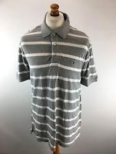 TOMMY HILFIGER Mens Polo Shirt XL Grey White Cotton Custom Fit