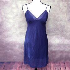 Size Medium VICTORIA'S SECRET Midnight Blue Crinkle Textured Full Slip Silky EUC