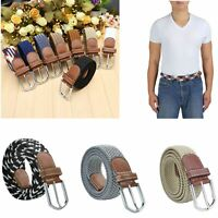 Men Unisex Elastic Braided Web Belt Woven Leather Canvas Square Buckle Waistband