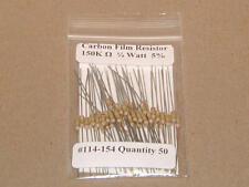 150K Ohm 1/4 Watt   5% Carbon Film Resistors (50pcs)  New Stock  USA Seller