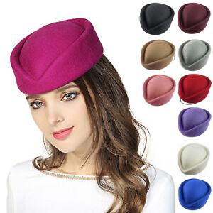 Womens Air Hostesse Stewardess Wool Felt Pillbox Fascinator Hat Millinery Beret