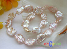 "p3432  lustre Nature 16"" 19mm BAROQUE pink KESHI REBORN PEARL NECKLACE 14k"