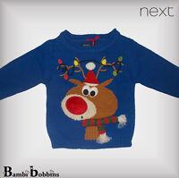 NEXT Christmas Baby Boys Blue Light Up Reindeer Jumper 3-6 Months Xmas